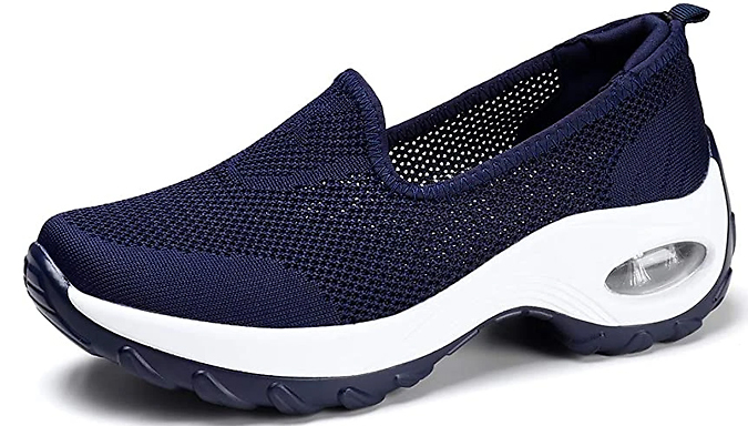 Knitted Cushioned Sole Slip-On Trainers - 4 Colours & 7 Sizes
