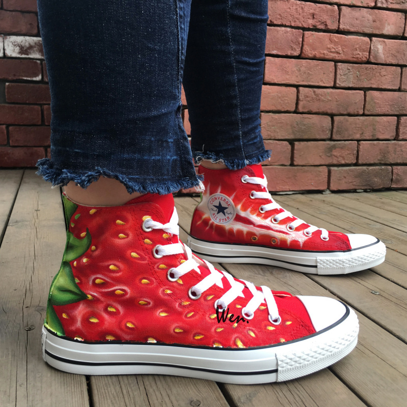 Design Strawberry Converse Shoes Hand Painted Canvas Sneakers Mens Womens Gifts