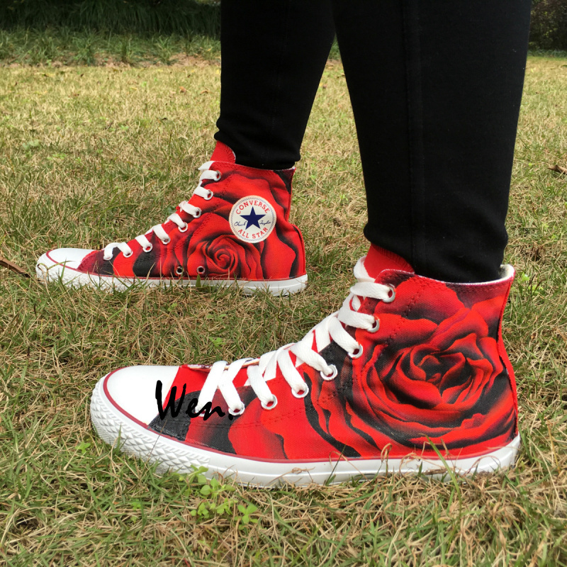 Red Roses Floral Hand Painted High Top Converse Sneakers Canvas Men Women Shoes